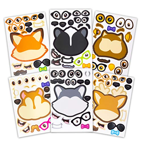 24 Make A Woodland Creatures Sticker Sheets - Fun Addition To Baby Shower Decorations & Birthday Party Supplies, Favors & Decor - Woodland Animals Include Fox, Owl, Chipmunk, Skunk, Deer, Raccoon ()