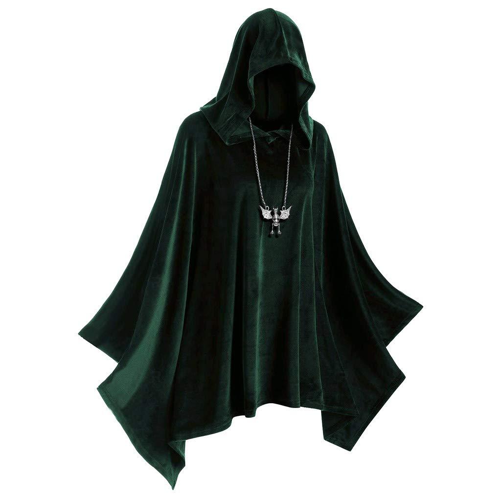 HAALIFE◕‿ Women Medieval Cloak Hooded Cloak Velvet Short Cape for Christmas Halloween Cosplay Green by HAALIFE Women's Clothing