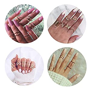 QXFQJT Gold Knuckle Ring Set Vintage Joint Stackable Midi Finger Rings Set for Women Girl (30pcs-Gold)