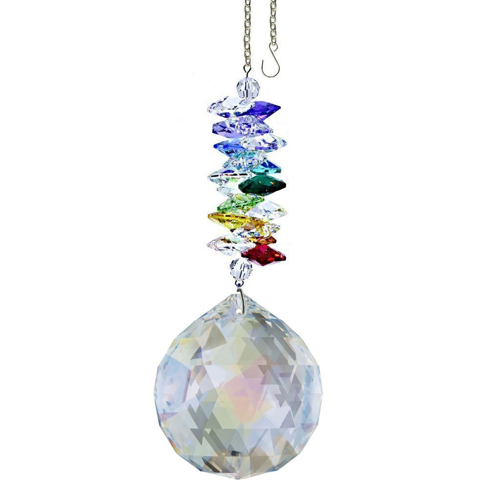CrystalPlace Crystal Ornament 4.5 inch Suncatcher Aurora Borealis Faceted Ball Prism Rainbow Maker Crystal Cascade Made with Swarovski Crystals