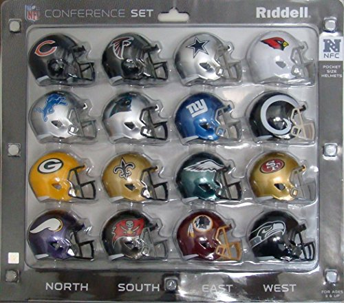 Riddell NFL NFC Helmet Pocket ProNFC Conference Set Pocket Pro Speed Style, Team Colors, One Size
