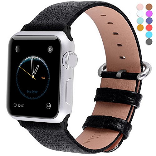 Apple Watch Bands 42mm, Fullmosa Yan Series Lichi Calf Leather Strap Replacement Band with Stainless Metal Clasp for Apple Watch Series 0 1 2 and Version 2015 2016, Black