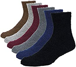 Men's Fuzzy Socks Soft Warm Winter Cozy Slipper Socks 6-pack