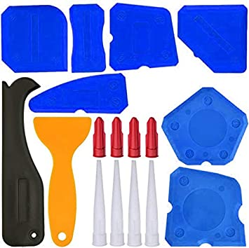 12pcs Silicone Sealant Finishing Tools Grout Scraper Caulk Remover Board Caulk Nozzle Caulk Caps for Bathroom Kitchen Floor Sealing Caulking Tool Set Blue, Black, Yellow