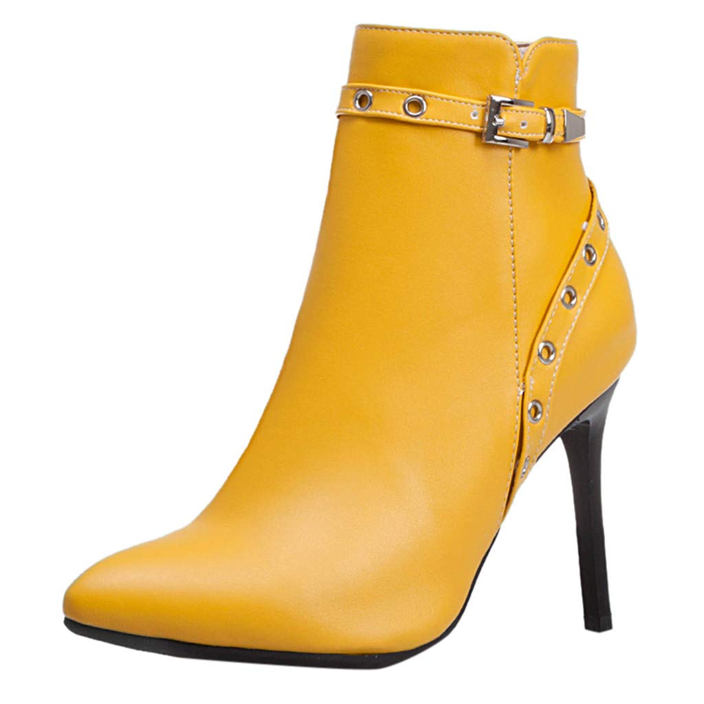 Kiminana Women's Fashion Pointed Heel Shoes Waterproof Platform High Heel Boots Lace Up Ankle High Heel Martin Boots Yellow by Kiminana