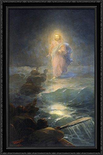 Jesus Walks on Water 26x40 Large Black Ornate Wood Framed Canvas Art by Ivan -