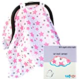 Best Baby Car Seat Covers for Girls, Bonus Decorative Washcloth Gift, Organic Cotton Canopy for All Infant Child Carrier Seats, 5-in-1 Breastfeeding Nursing & Stroller Cover & Babies Travel Blanket!