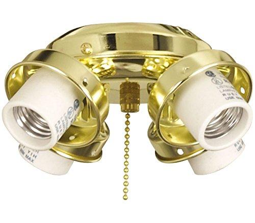 Bright Brass Light Kits (Ellington EUC42BB 4 Light Ceiling Fan Fitter, Bright Brass)