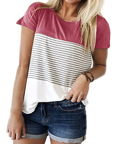 lymanchi Short Sleeve Top Summer Casual Round Neck Stripe Color Block Tee Shirts Pink M - Triple Wardrobe