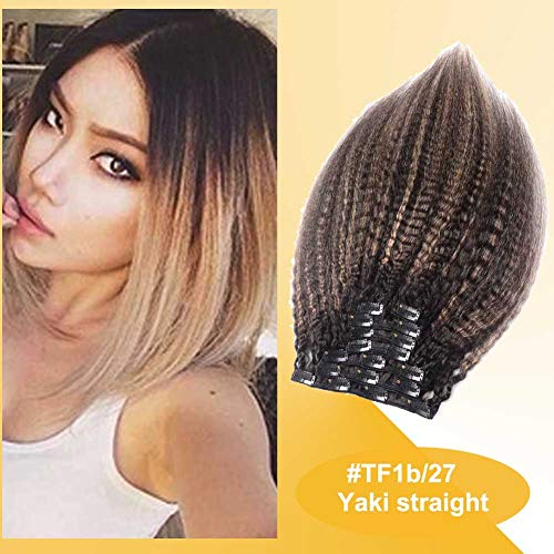 Kinky Straight Clip in Extensions Human Hair, Ombre Balayage Strawberry Blonde Yaki Natural Clip on Remy Hair Extensions 128 grams (Color #TF-1b/27, 14inch) (Ombre Hair Clip In Extensions For Sale)