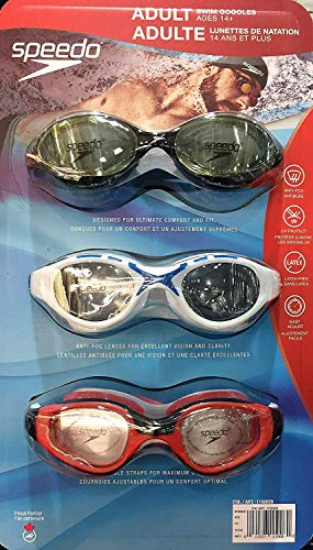 Speedo Swim Goggles, Adult 3-Pack