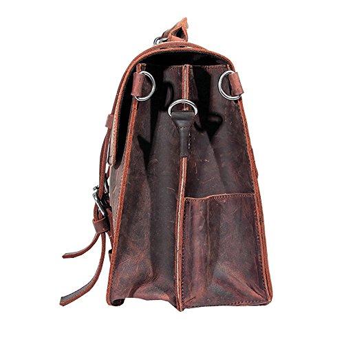 Paonies Herren Büffelleder Tasche Umhängetasche Handtasche für Reise Büro Uni