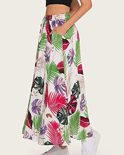 Jupe Longueur Imprime Femmes lastique Blanc Jupes Floral Taille OfgnZanUq