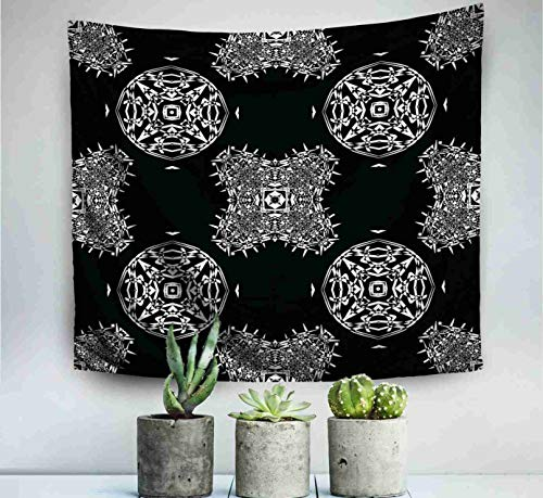 ROOLAYS Home Art Decor Wall Hanging Tapestry Dark Diamond Pattern Black White Background Modern Stylish Texture Repeating Geometric with 60x50 Inches for Living Room Dorm Background Tapestries