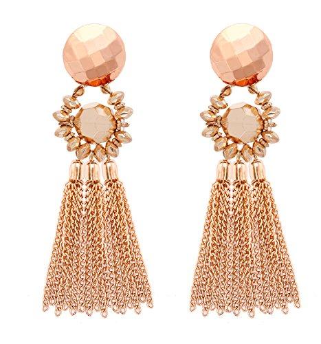 MOLOCH Bohemian Tassel Chandelier Dangle Earring for Women Girl Piercing Earring Clip On Earrings Long Drop Statement Earrings (Piercing Earrings Gold) ()