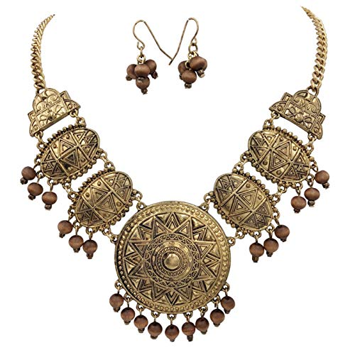 Gypsy Jewels Trendy Boutique Style Necklace & Earring Set (Brown Wood Gold Tone)