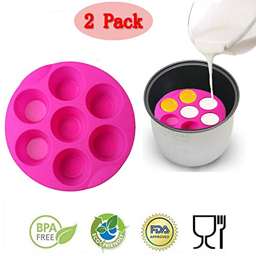 (Set of 2)7 Cavity Silicone Pressure Cooker Egg Bites Molds,Fits 5,6,8 qt Pressure Cooker, Reusable Storage Container Muffin Pudding Mould Bakeware Round Cup Cake Pan Baking Tray (Egg Cupcake)