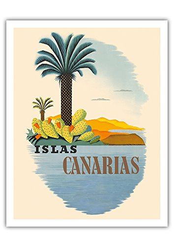 Islas Canarias (Canary Islands) - Palm Trees and Cactus - Vintage World Travel Poster - Fine Art Print - 11in x 14in