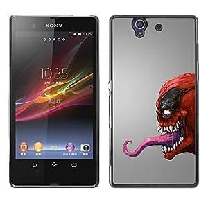 LECELL -- Funda protectora / Cubierta / Piel For Sony Xperia Z L36H C6602 C6603 C6606 C6616 -- Red Venom Monster --