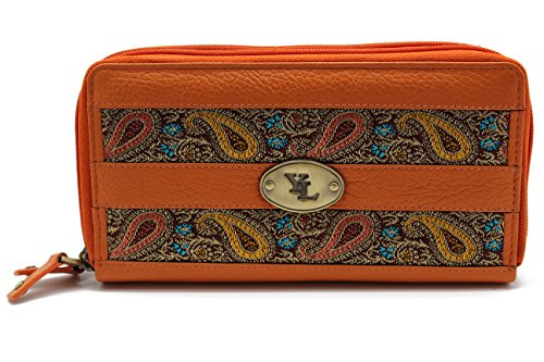 yl-zip-around-womens-genuine-leather-clutch-wallet-purse-hipster-embroidery-lace-yl-04-orange