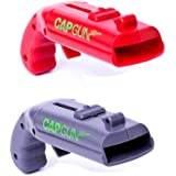 2 Pieces Cap Gun Bottle Opener Creative Bottle Opener Cap Gun Plastic Beer Bottle Opener Cap Launcher Shooter for Home Bar Party Drinking Game (Red and Grey)