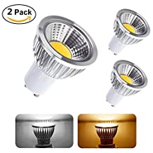5W GU10 LED Bulb COB Spotlight 40Watt Equivalent, Flood Light for Landscape, Recessed, Track lighting (2 pack, Cool White)