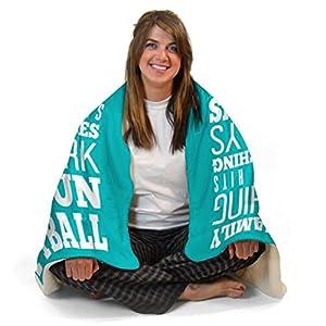 We Do Softball Sherpa Fleece Blanket | Softball Blankets by ChalkTalk SPORTS | Teal