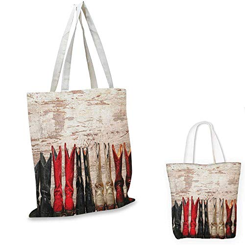 """Western ultralight shopping bag American Legend Cowgirl Leather Boots Rustic Wild West Theme Cultural Print pocketable shopping bag Beige Red Black. 13""""x13""""-10"""""""