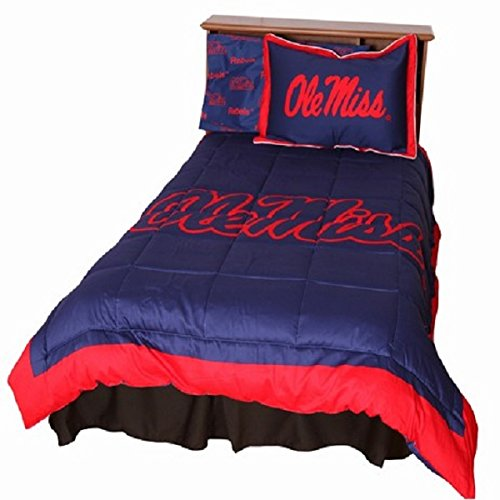 Ole Miss Rebels (5) Piece QUEEN Size Reversible Comforter Set - Set Includes: (1) QUEEN Size Comforter, (2) Shams and (2) Standard Size Solid Color Pillowcases Ole Miss Rebels Pillow
