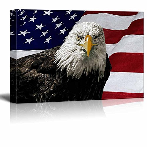 Canvas Prints Wall Art - Majestic Bald Eagle Against a Photo of an American Flag Patriotic Style | Modern Wall Decor/ Home Decoration Stretched Gallery Canvas Wrap Giclee Print & - Posters American Patriotic