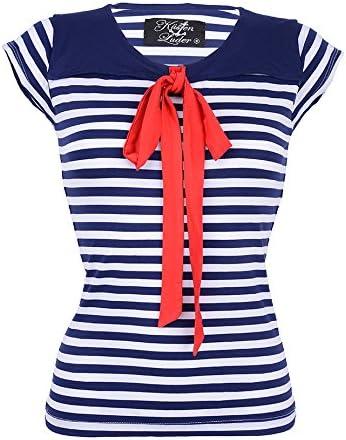 Pin Up Küstenluder DORIS SAILOR marineros de rayas cuello camiseta - Rockabilly: Amazon.es: Ropa y accesorios