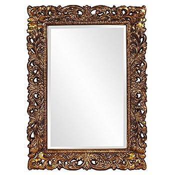 Howard Elliott Barcelona Mirror, Rectangular Antique Gold Resin Frame, Accent Wall Hanging Mirror