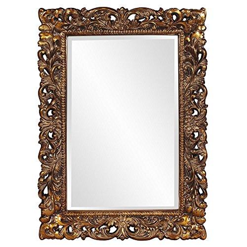 Howard Elliott Barcelona Mirror, Rectangular Antique Gold Resin Frame, Accent Wall Hanging Mirror -