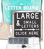 Letter Board 10x10 Rustic Gray   +690 PRE-Cut Letters +Stand +Sorting Tray   Farmhouse Felt Letterboard with Cursive Words, Letter Boards, Word Board, Message Board, Changeable Sign