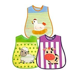 Waterproof Animal Baby Bibs Large Size - 3 Pack - Reversible Pocket - Velcro Closure - PEVA