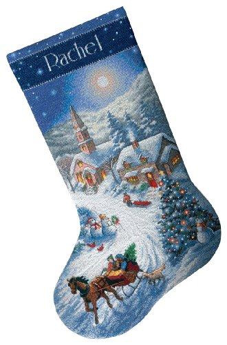 (Dimensions Counted Cross Stitch 'Ride at Dusk' Personalized Christmas Stocking Kit, 16 Count Dove Grey Aida, 16'')