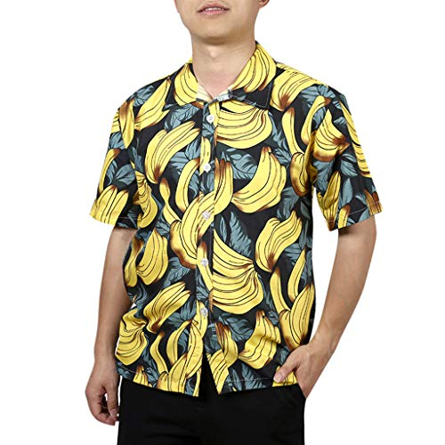 (YY1950s Men's Casual Fashion Button Hawaii Print Pattern Beach Loose Print Short Sleeve Quick Dry Top (Yellow, L3))