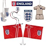 England F.A. Complete Car Set Car Accessories Pack 1 X Window Sticker 1 X Pair Of Mini Boxing Gloves 1 X Aerial Topper 1 X Car Magnet Approx 10Cm X 7Cm 1 X Kit Air Fresener 2 X Car Flag Official Licensed Product