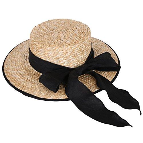 ililily Two Tone Braided Summer Straw Boater Floppy Hat W/ Ribbon Hatband (fedora-588-1)