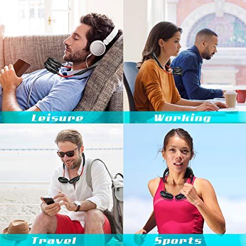 Portable Personal Neck Fan USB Rechargeable, HONGJING Hand Free Sports Fan Wearable Design Mini Cooler Neckband Fan for Outdoor Travel