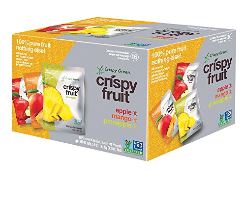 Crispy Green Freeze-Dried Fruits, Non-GMO, Gluten Free, No Sugar Added, Fruit, Tropical Variety Pack, (16 Count) (Fruit Variety Pack)