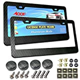 49ers license plate frame bling - License Plate Frame Carbon Fiber Style Cover, Black Aluminum Frame with Stainless Steel Plate Screws and Carbon Mode Caps for US Car Front and Rear License Plate Installation (2Pcs - 2 Hole)