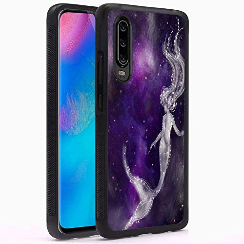 Huawei P30 Phone Case, Space Galaxy Mermaid Black Anti-Scratch Lithe  Shockproof Rubber Bumper Protective Case for Huawei P30