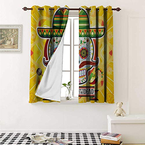 Day of The Dead Customized Curtains Mexican Sugar Skull with Tacos and Chili Pepper November 2nd Colorful Art Print Curtains for Kitchen Windows W63 x L45 Inch Yellow