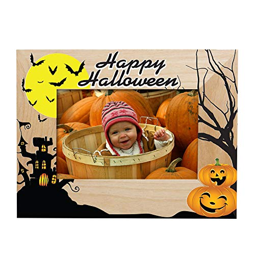 GiftsForYouNow Haunted House Halloween Wood Picture Frame, 4x6