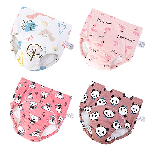 Baby Girls' 4 Pack Cotton Training Pants Toddler Potty Training Underwear for Boys and Girls 12M-4T (red, 12M-2T)