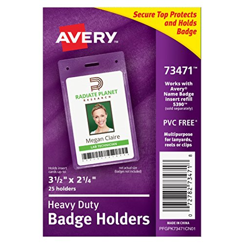 Avery Heavy Duty Badge Holders, Pack of 25