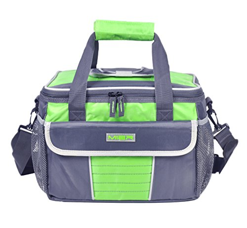MIER Large Soft Cooler Bag Insulated Lunch Box Bag Picnic Cooler Tote with Dispensing Lid, Multiple Pockets(grey and green)