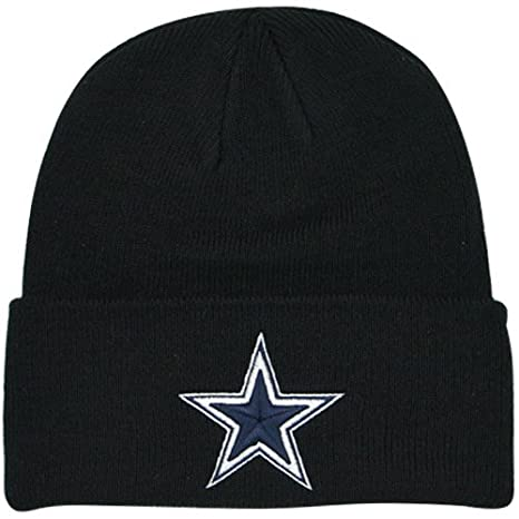 Amazon.com   Dallas Cowboys Basic Knit Hat Black   Knit Caps ... 5342234a6d2