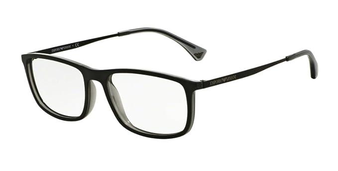 414b8fee70463 Emporio Armani Montures de lunettes Pour Homme 3070 - 5468  Matte Black    Grey Transparent